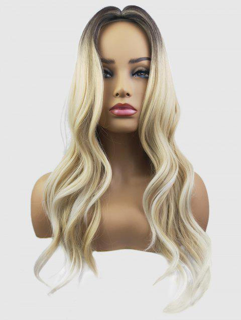 Middle Part Capless Long Wavy Colormix Synthetic Wig - CHAMPAGNE GOLD