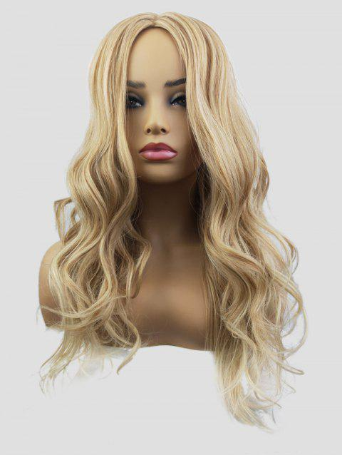 Synthetic Long Center Parting Capless Wavy Wig - TAN
