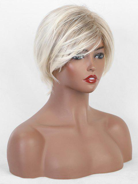 Side Part Straight Ombre Fluffy Short Synthetic Wig - multicolor