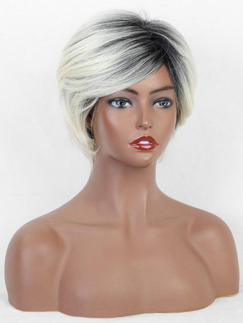 Ombre Straight Synthetic Side Part Short Wig - multicolor