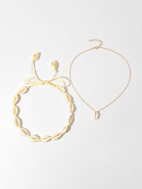 2Pcs Beach Cord Chain Shell Necklaces Set - GOLD