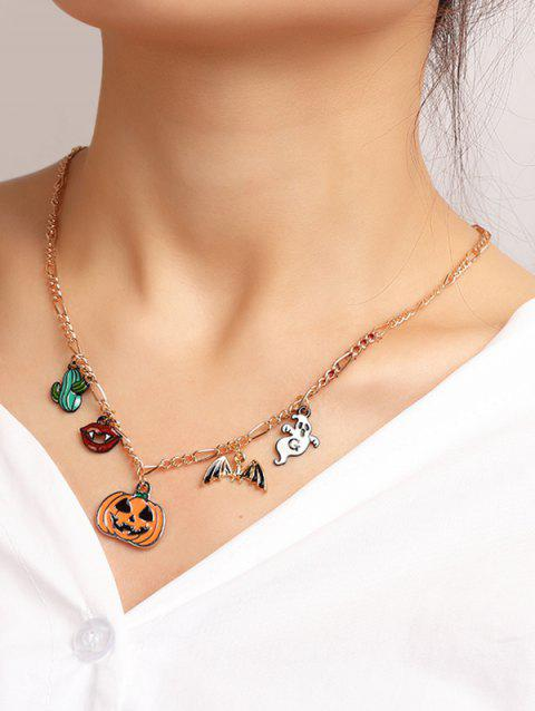 Pumpkin Ghost Pendant Halloween Chain Necklace - multicolor C