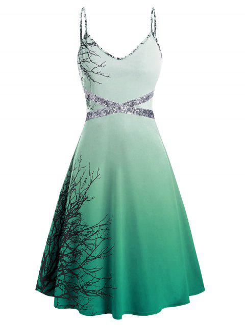 Plus Size Spaghetti Strap Tree Print Sequin Halloween Dress - LIGHT SEA GREEN 4X