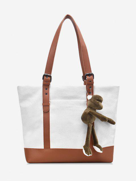 Double Buckle Belt Design Tote Bag - WHITE