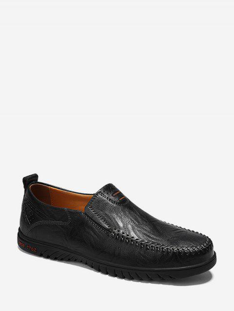 Sewing Toe Faux Leather Slip On Business Shoes - BLACK EU 43