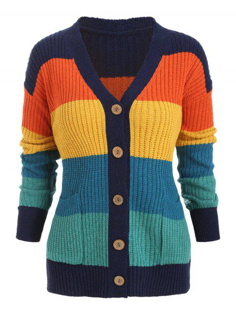 Front Pocket Colorblock Cardigan - multicolor ONE SIZE