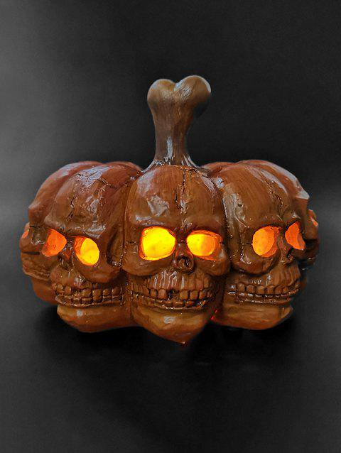 Multi-faceted Skulls Portable Halloween Pumpkin Lamp - PAPAYA ORANGE