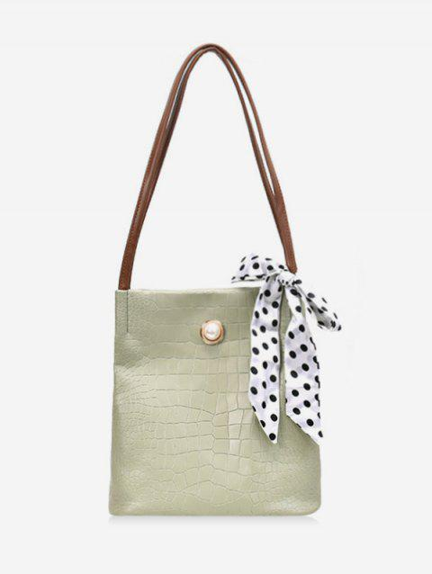 Ribbon Decorate Retro Tote Bag - GREEN