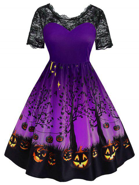 Plus Size Vintage Pumpkin Face Tree Print Halloween Dress - PURPLE AMETHYST 5X