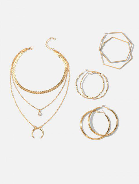 Multilayered Crescent Moon Necklace And Simple Hoop Earrings Set - GOLD