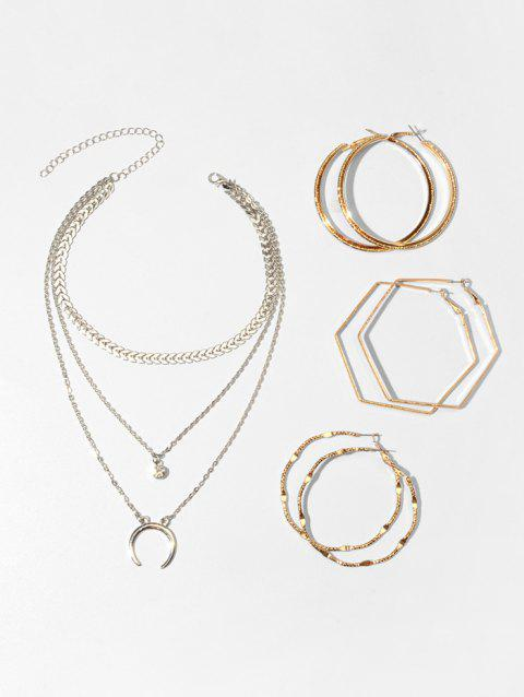 Multilayered Crescent Moon Necklace And Simple Hoop Earrings Set - SILVER
