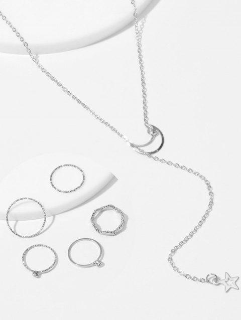 Simple Moon Star Chain Necklace And Rings Set - SILVER