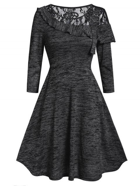 Marled Lace Insert Round Collar Fit And Flare Dress - BLACK S