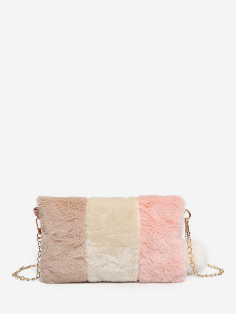 Casual Crossbody Fuzzy Square Chain Shoulder Bag - ROSE