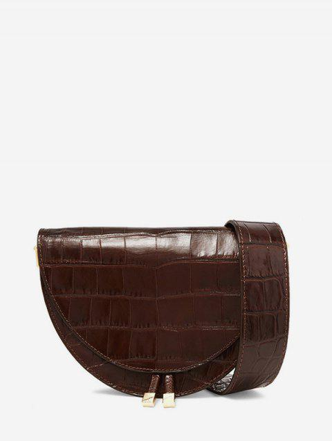 Semicircle Shape Small Leather Shoulder Bag - BROWN