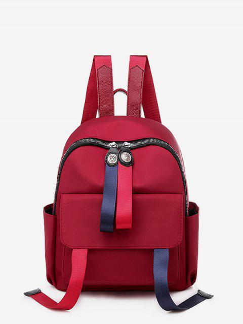 Solid Travel Waterproof Student Backpack - RED