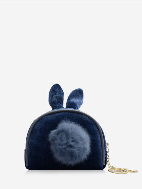 Fuzzy Ball Decorate Shell Shape Coin Bag - BLUE