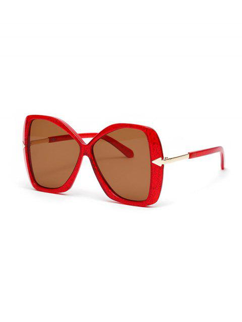 Arrow Embellished Oversized Butterfly Sunglasses - LAVA RED