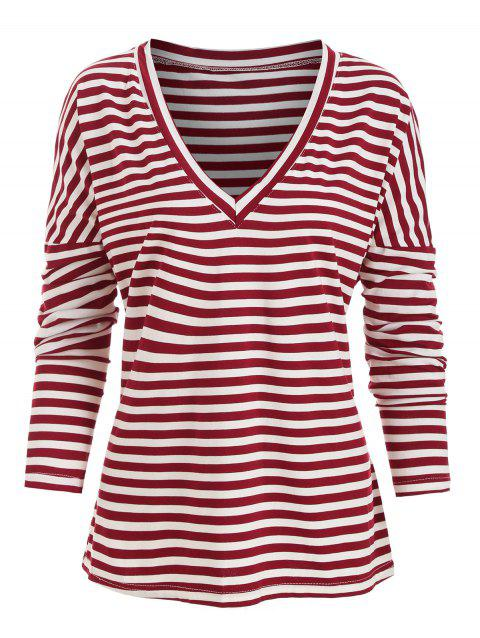 Dolman Sleeves Striped V Neck Tee - RED XL