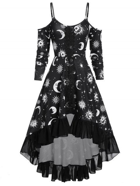 High Low Cold Shoulder Flounce Sun and Moon Print Gothic Dress - BLACK 3XL