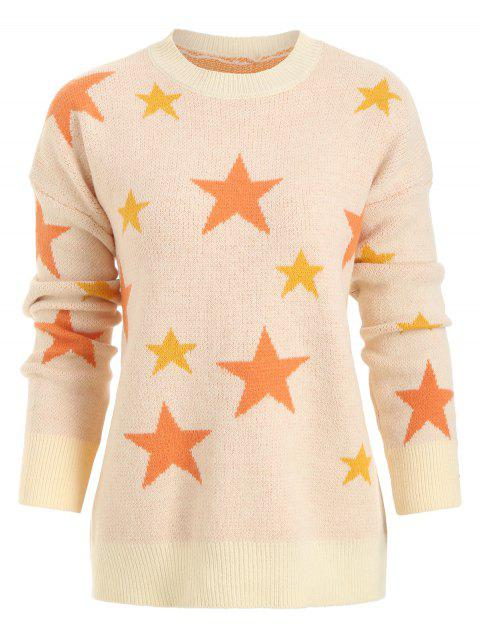 Crew Neck Stars Graphic Sweater - APRICOT ONE SIZE