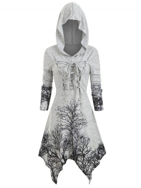 Plus Size Handkerchief Lace Up Tree Print Halloween Dress - GRAY CLOUD 3X
