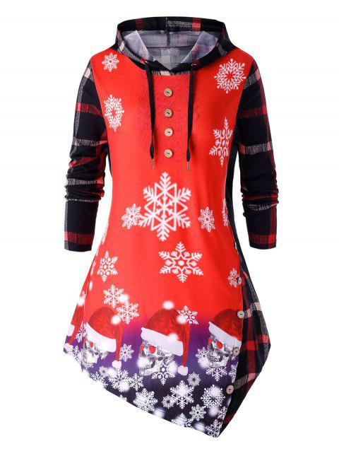 Plus Size Christmas Snow Print Asymmetrical T Shirt - ROSSO RED 5X