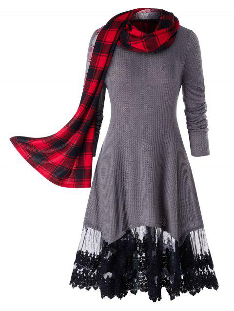 Plus Size Lace Trim Long Tunic Knitwear With Scarf