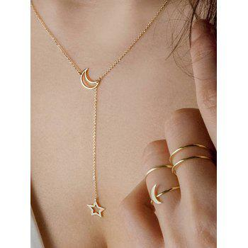 Simple Moon Star Chain Necklace And Rings Set