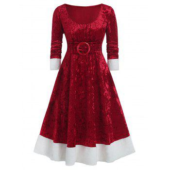 Plus Size Christmas Bowknot Embellished Contrast Velvet Midi Dress