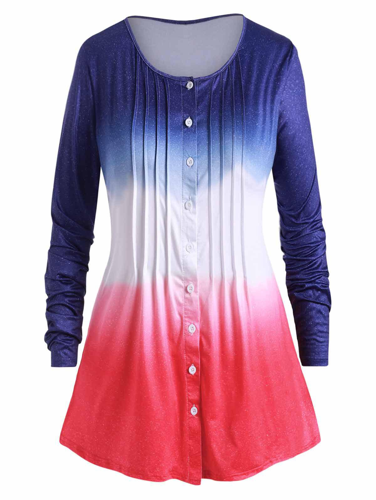 Ombre Pleated Button Up Plus Size Long Sleeve Top - PEACOCK BLUE L