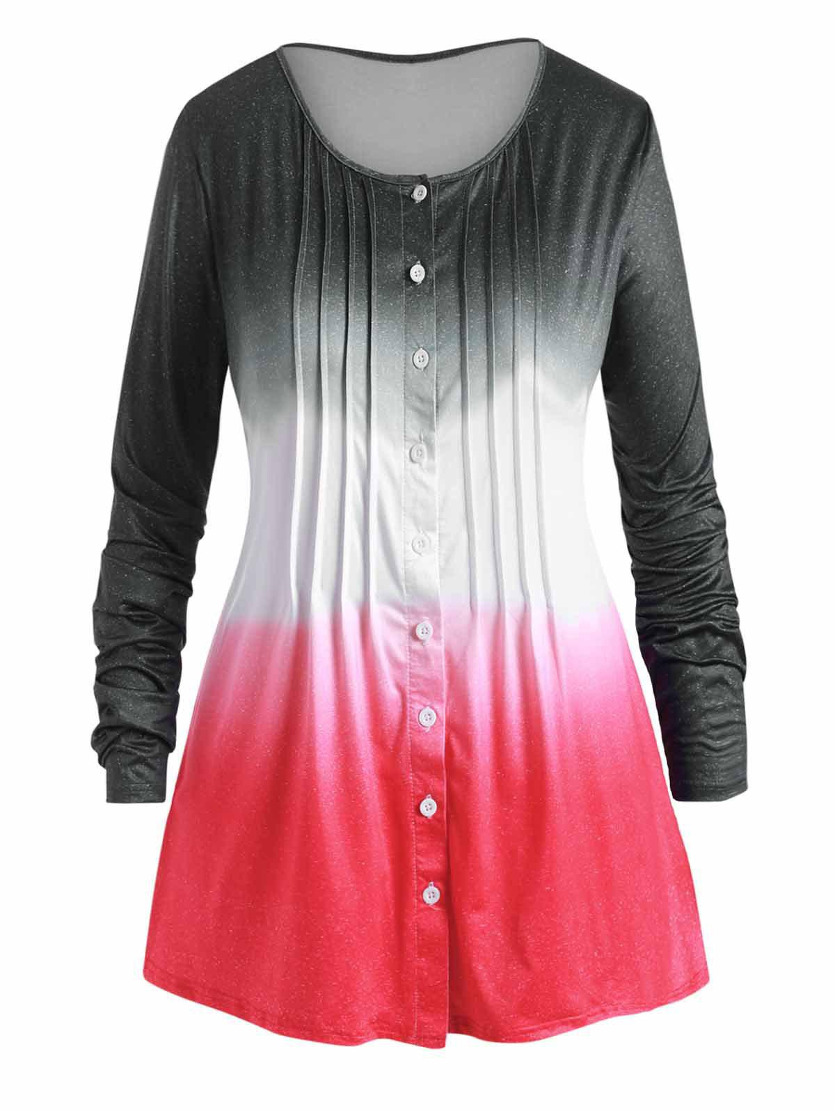 Ombre Pleated Button Up Plus Size Long Sleeve Top - BLACK 1X