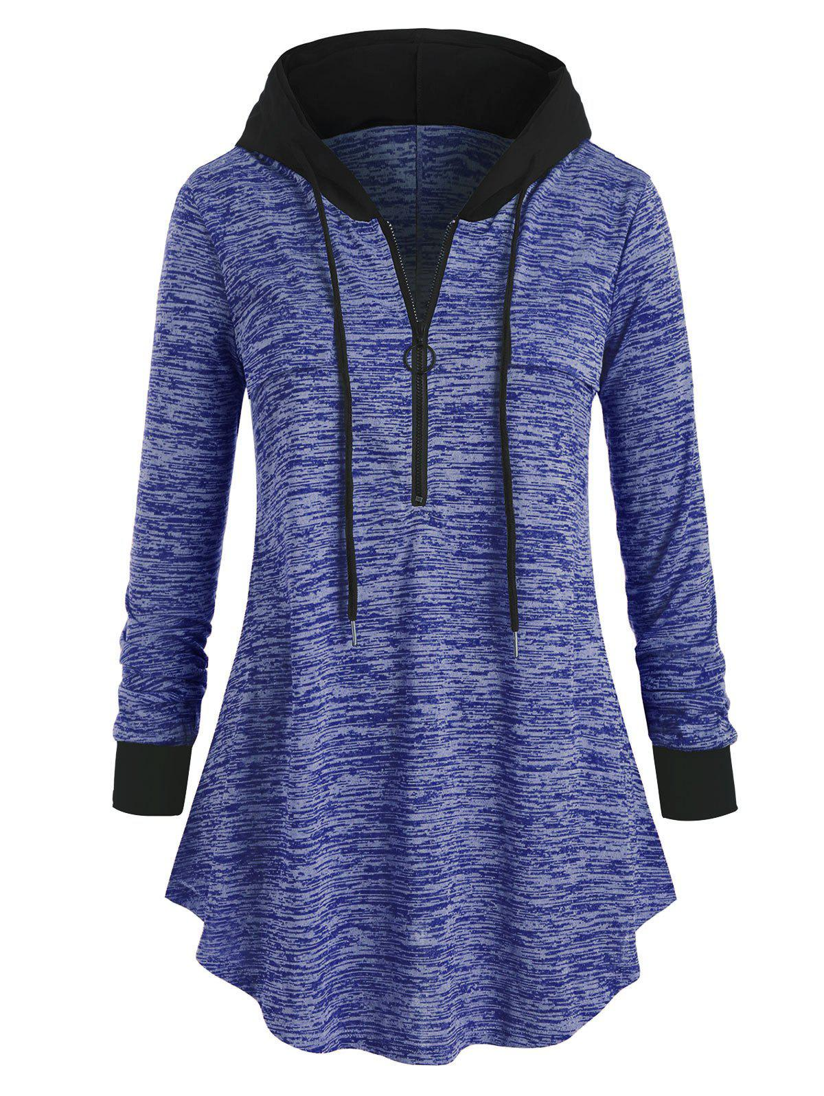 Space Dye Long Sleeve Plus Size Hooded Tunic Top - COBALT BLUE L