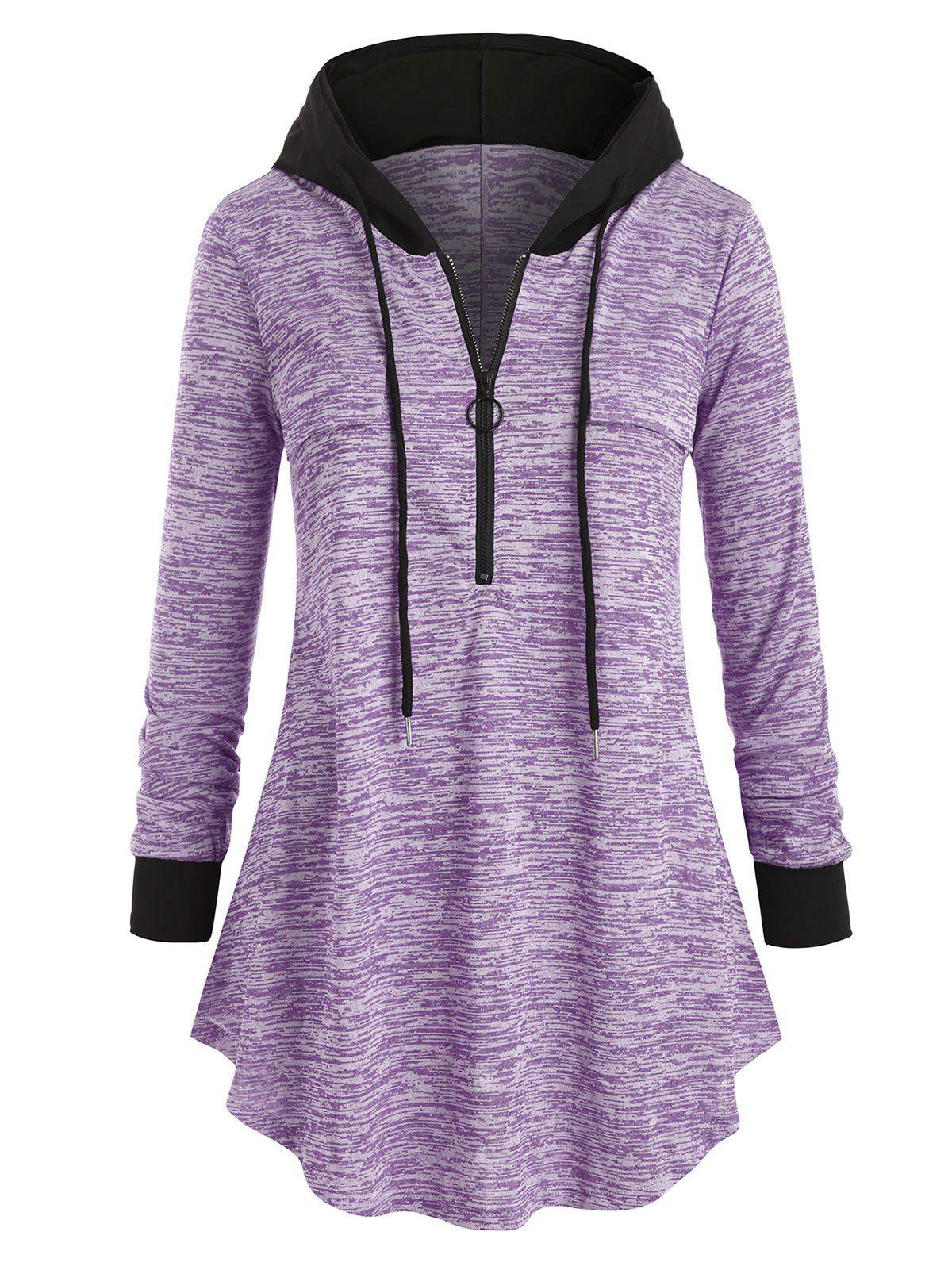 Space Dye Long Sleeve Plus Size Hooded Tunic Top - MAUVE 4X