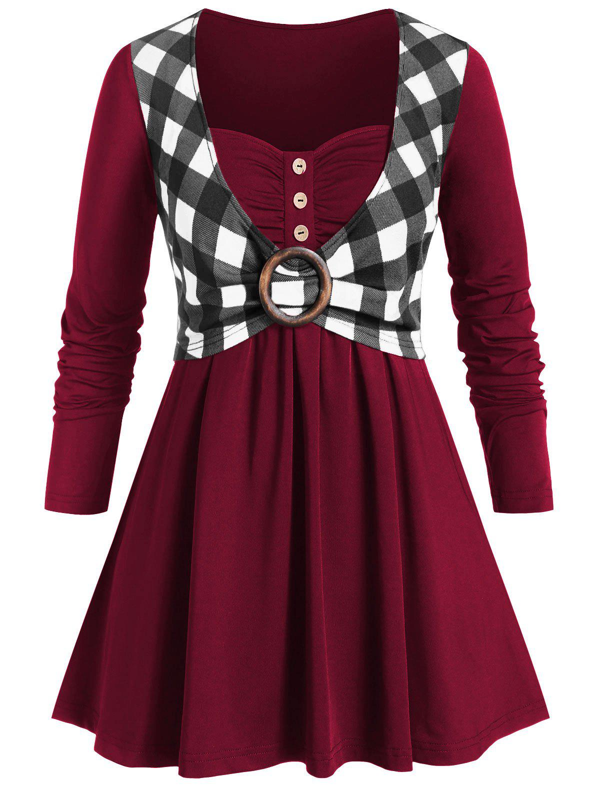 Plus Size Sweetheart Collar Plaid Panel Button T Shirt - RED WINE 5X