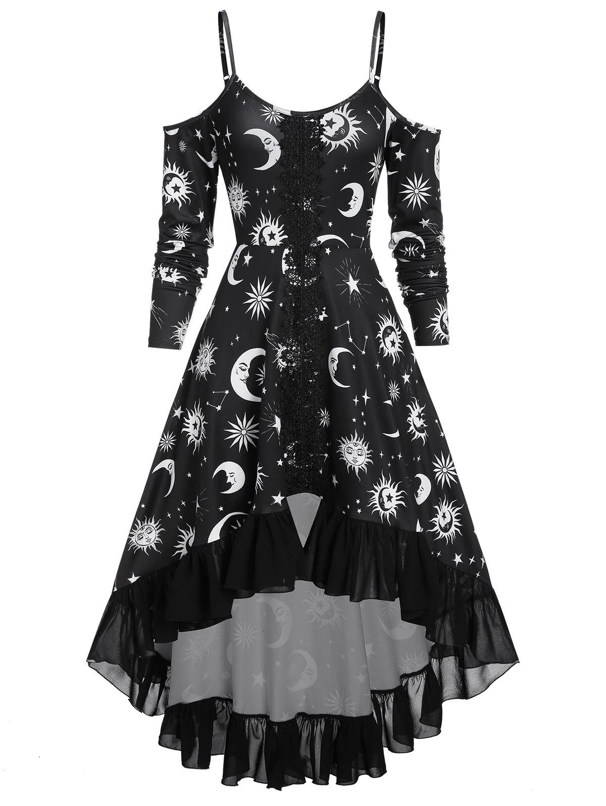 High Low Cold Shoulder Flounce Sun and Moon Print Gothic Dress - BLACK XL