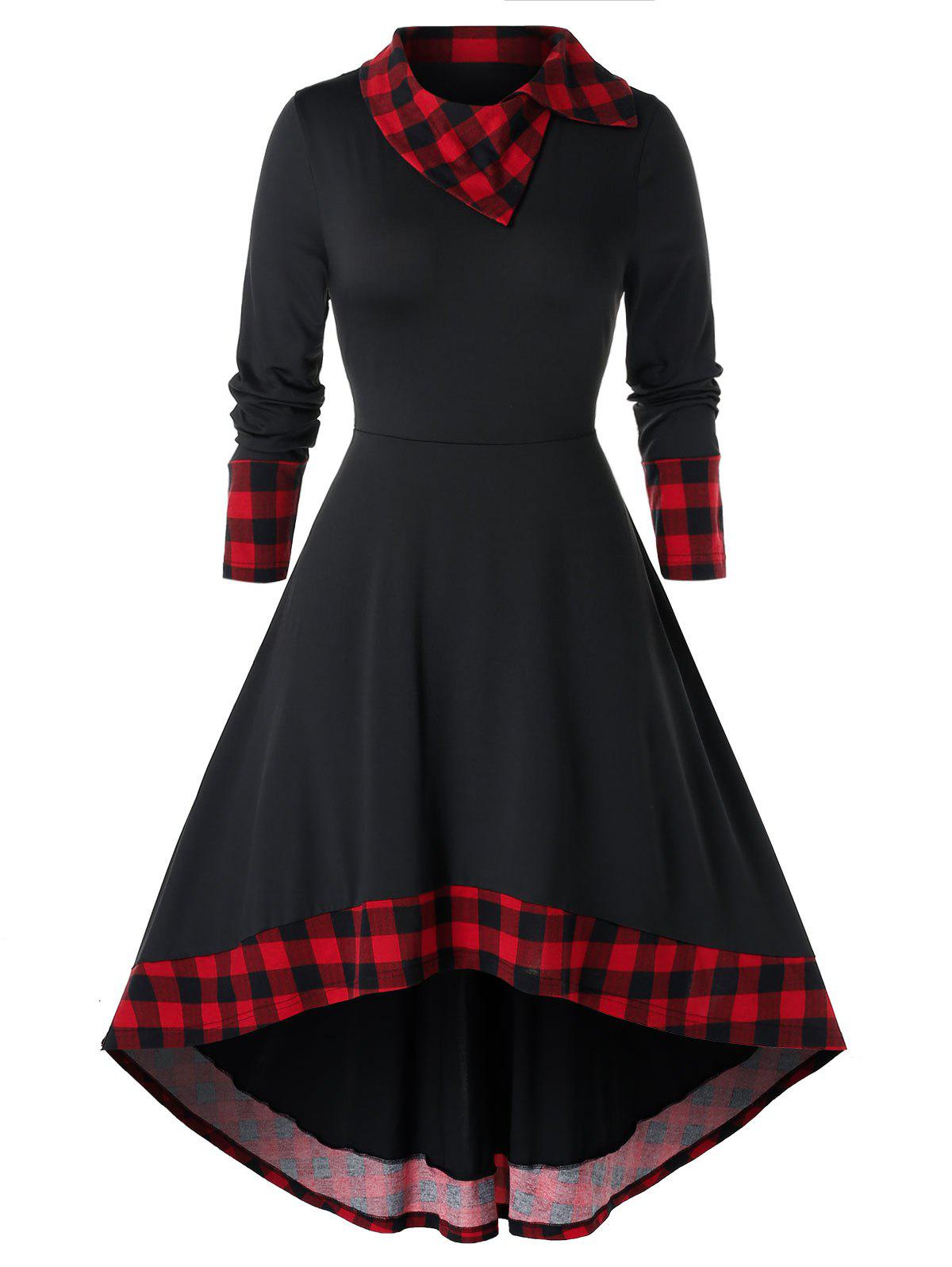 Plus Size Plaid Panel High Low Midi Dress - BLACK L