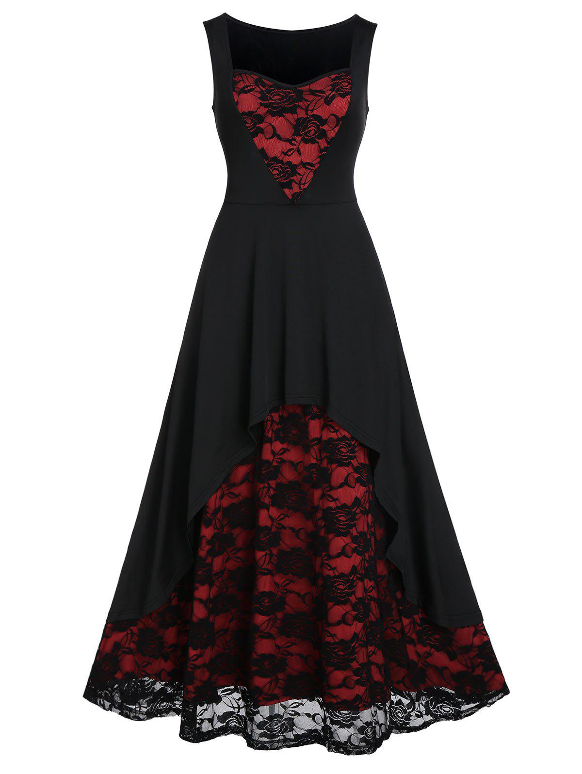 Rose Lace Insert High Low Midi Evening Dress - BLACK 3XL