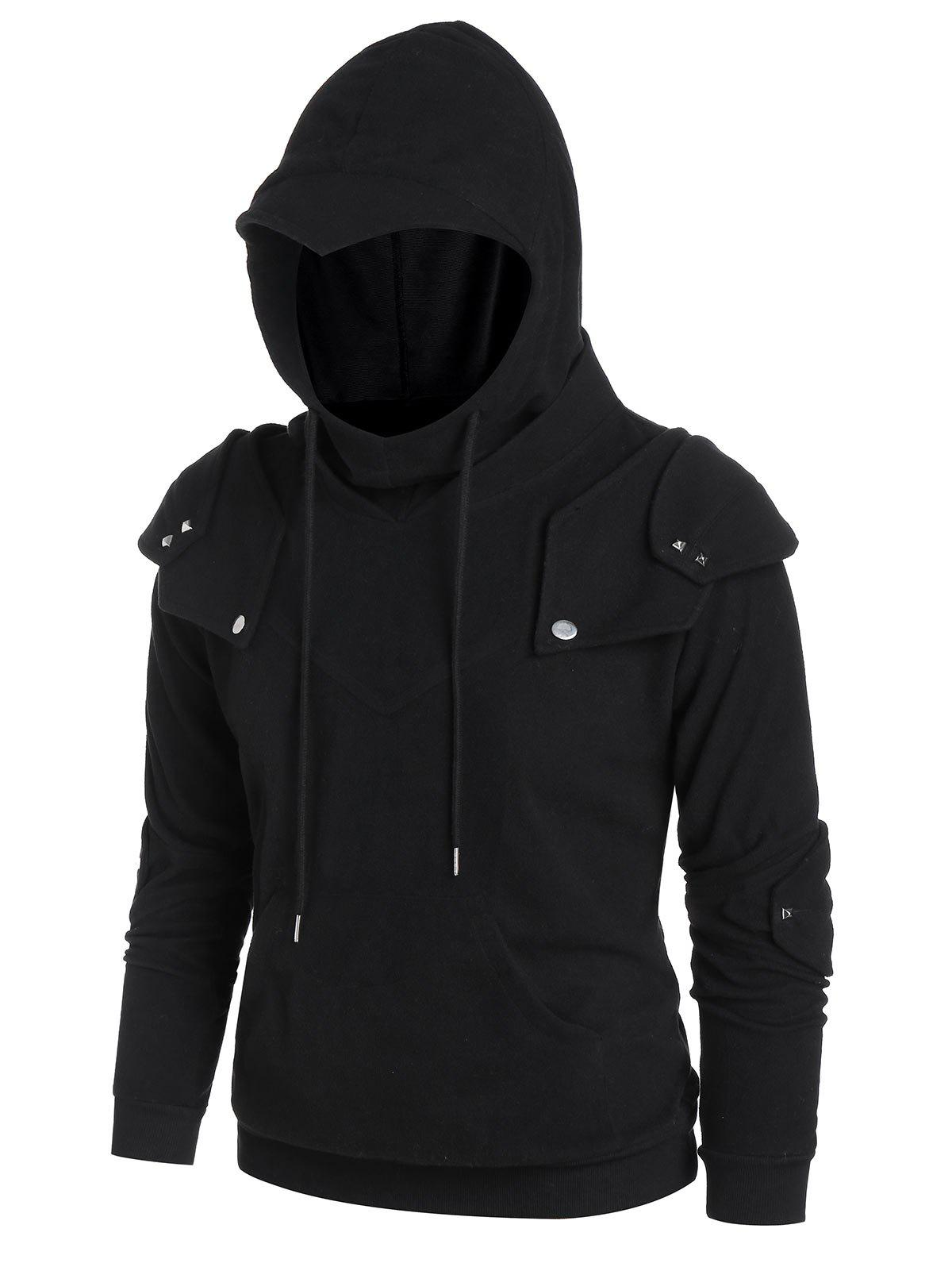 Kangaroo Pocket Rivets Knight Soldier Hoodie - BLACK S