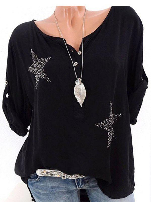 Rhinestone Star Placket Plus Size Roll Sleeve Blouse - BLACK M