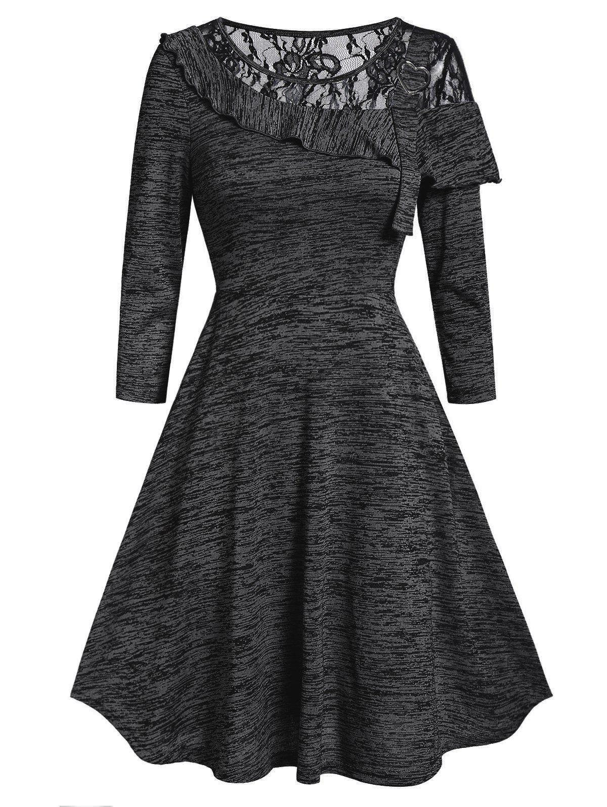 Marled Lace Insert Round Collar Fit And Flare Dress - BLACK XL