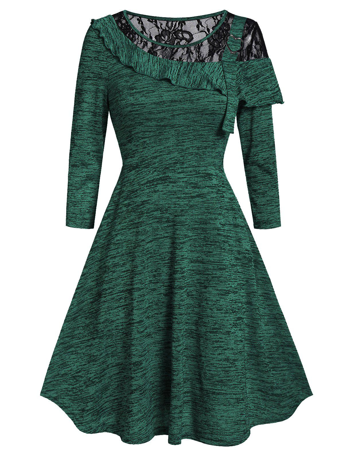 Marled Lace Insert Round Collar Fit And Flare Dress - DEEP GREEN 2XL