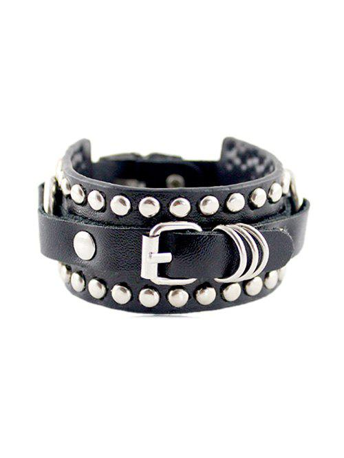 Punk PU Leather Rivet Buckle Wide Bracelet - BLACK