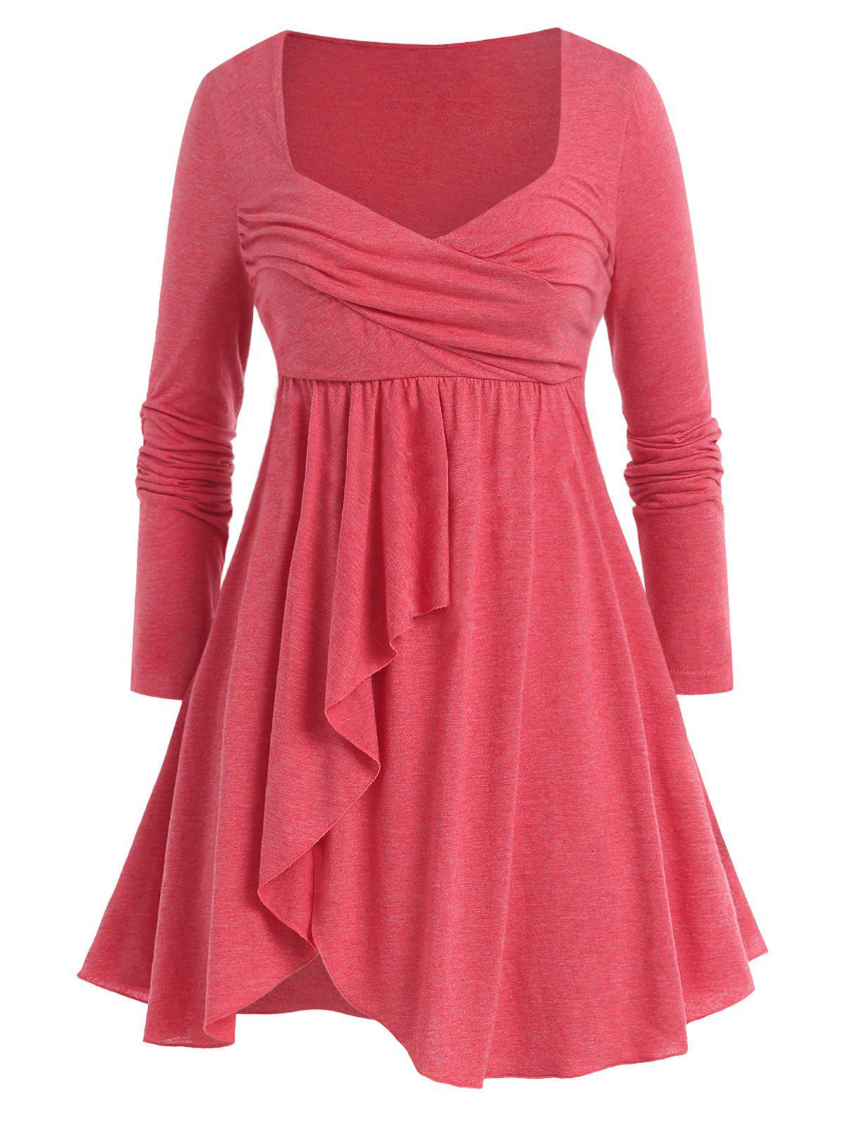 Plus Size Long Sleeve Solid Flounce T Shirt - ROSE RED 4X