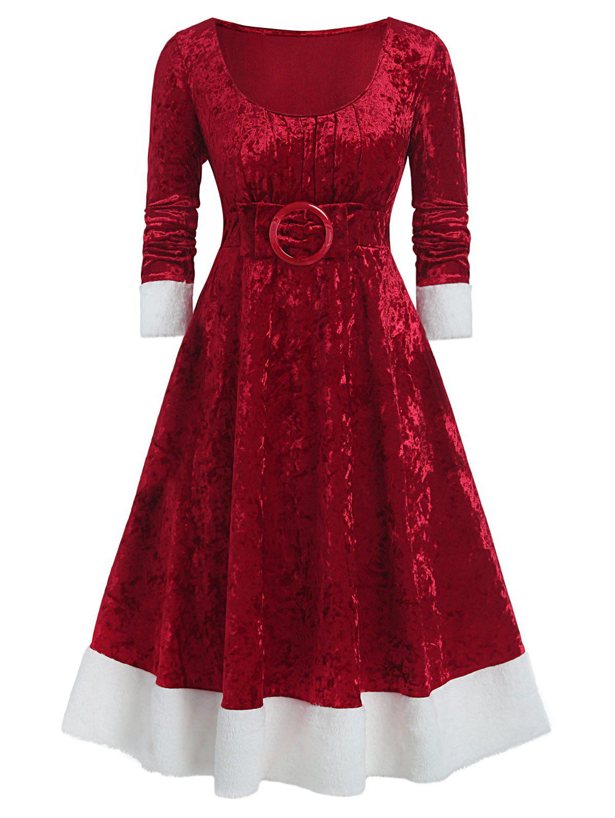 Plus Size Christmas Bowknot Embellished Contrast Velvet Midi Dress - RED WINE 1X