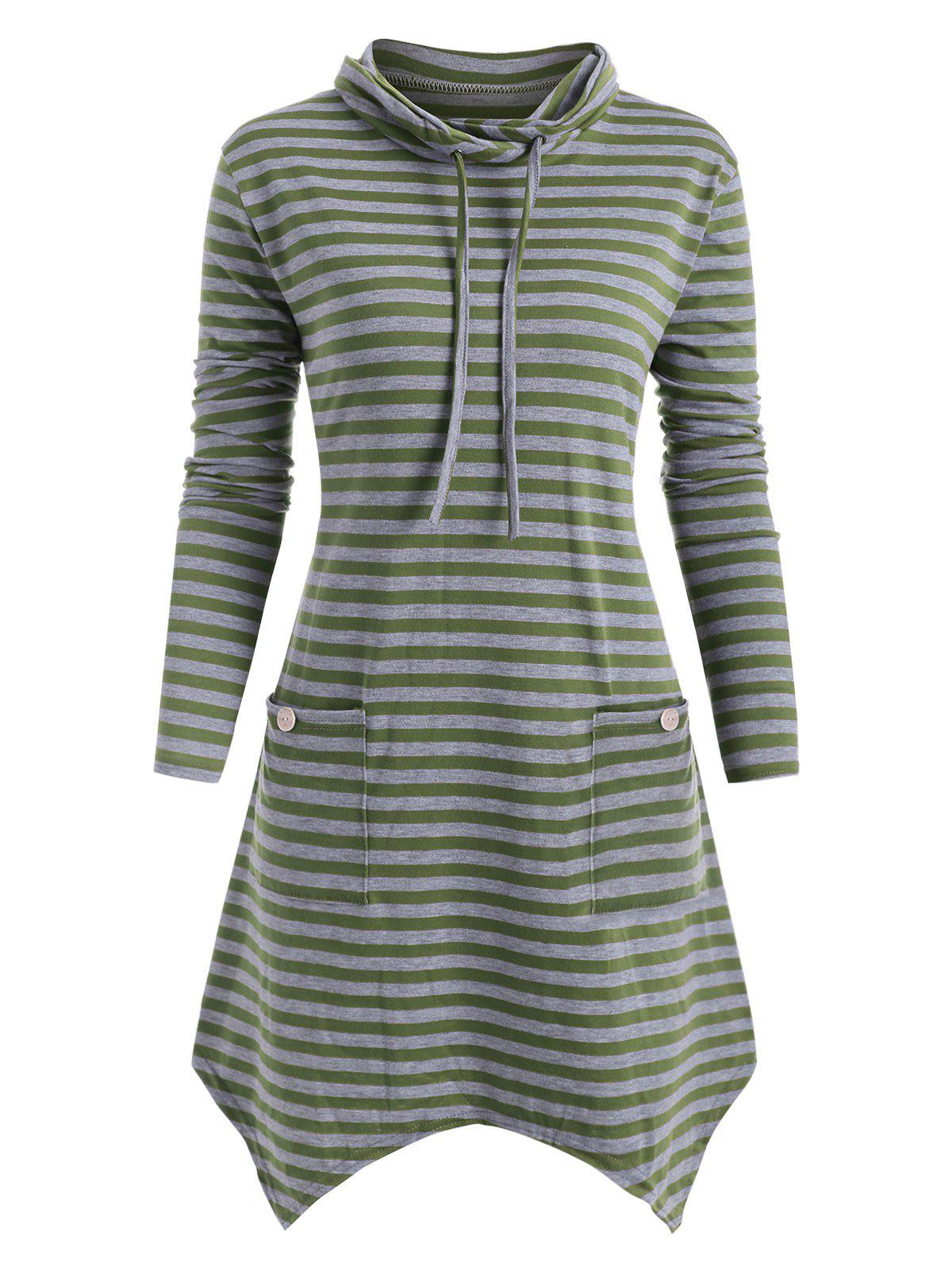 Cowl Neck Striped Plus Size Asymmetrical Tunic Top - SEA TURTLE GREEN L