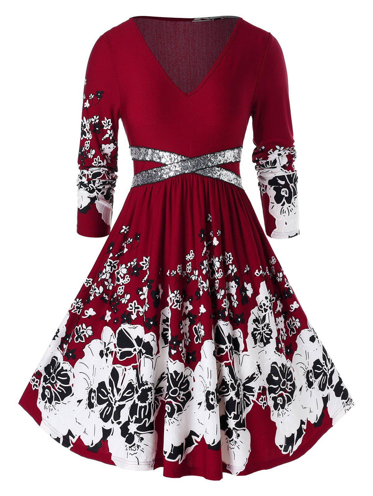 Plus Size Sequined V Neck Floral Print Dress - RED WINE L