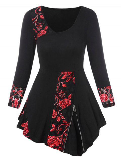Plus Size Floral Splicing Zip Embellished High Low T-shirt - BLACK 5X