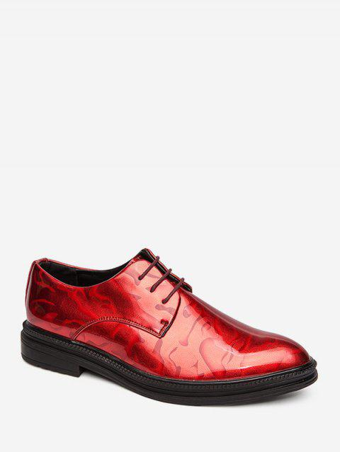 Faux Leather Pointed Toe Business Shoes - RED EU 38
