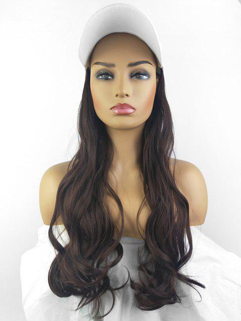 Peaked Hat Integrated Long Body Wave Synthetic Wig - MIDNIGHT WHITE FISHERMAN'S CAP